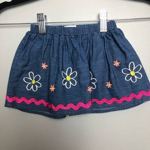 NWT Girls 6-9 months denim embroidered skirt